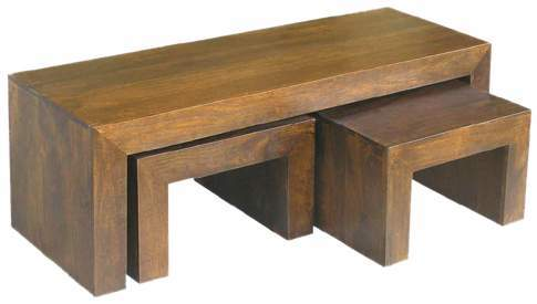 WOODEN NEST OF COFFEE TABLES S/3