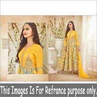 Yellow Color Long Gair Printed Anarkli Suit