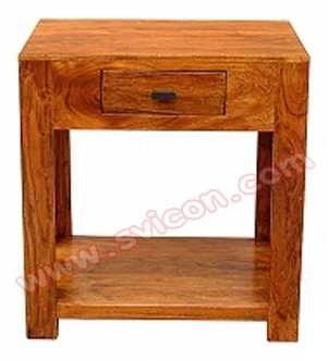 WOODEN BEDSIDE 1 DRAWER WITH SHELF