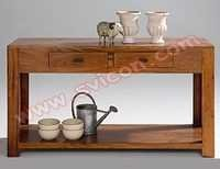 WOODEN CONSOLE TABLE 2 DRAWER WITH SHELF