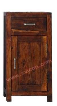 WOODEN BEDSIDE 1 DOOR 1 DRAWER