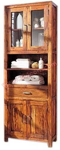 Wooden 4 Glass Door Almirah 1 Drawer