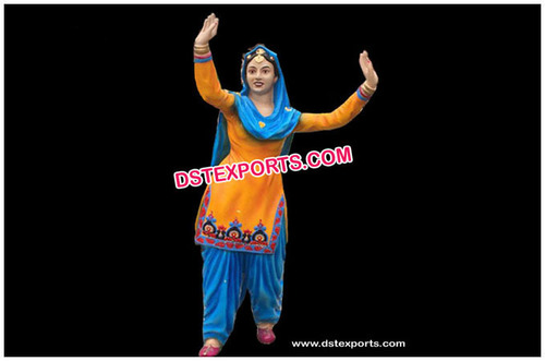Dancing Punjabi Girl Fiber Statue