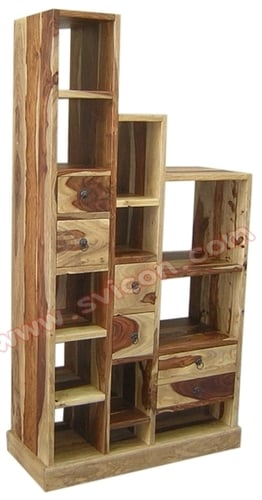 WOODEN STEP BOOK RACK WITH DRAWER (RIGHT)