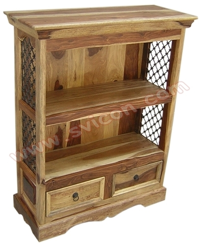 WOODEN BOOKSHELF 2 DRAWER
