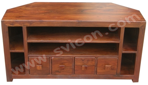 WOODEN CORNER TV/DVD UNIT 4 DRAWER