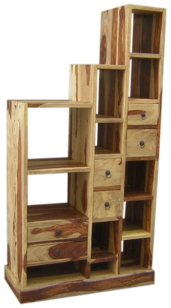WOODEN STEP BOOK RACK WITH DRAWER (LEFT)
