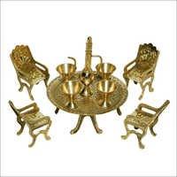 Brass Table Chair Showpiece Set