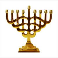 Aluminum Menorah with Brass Finish Candle Pillars