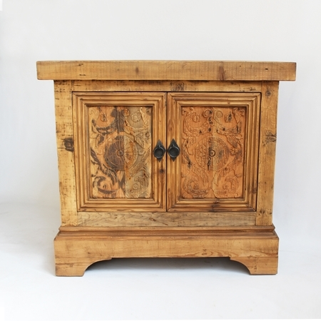 Carved Wood Bed Side Cabinet