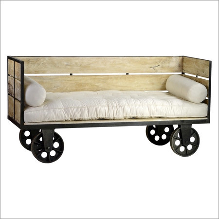 Crate Bench with Iron Wheels