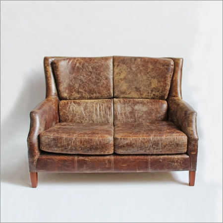 Distressed Leather Short Sofa