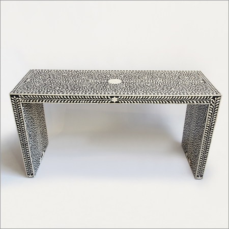 Bone Inlay Console Table - Black