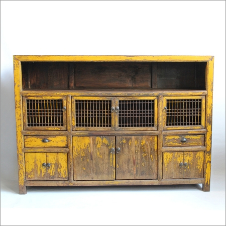 Antique Yellow Storage Cabinet