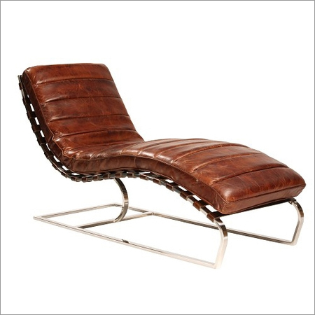 Aged Leather Chaise Lounge