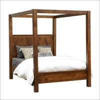 Wood Modern Canopy Bed Cal King