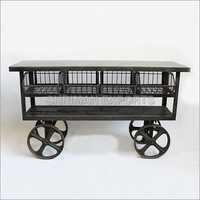 Industrial Trolly Cart Table