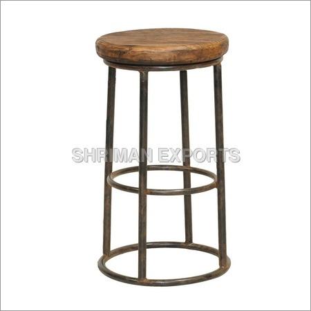 Reclaimed Wood Iron Barstool