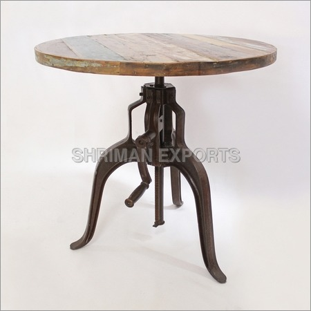 Industrial Iron & Wood Crank Table