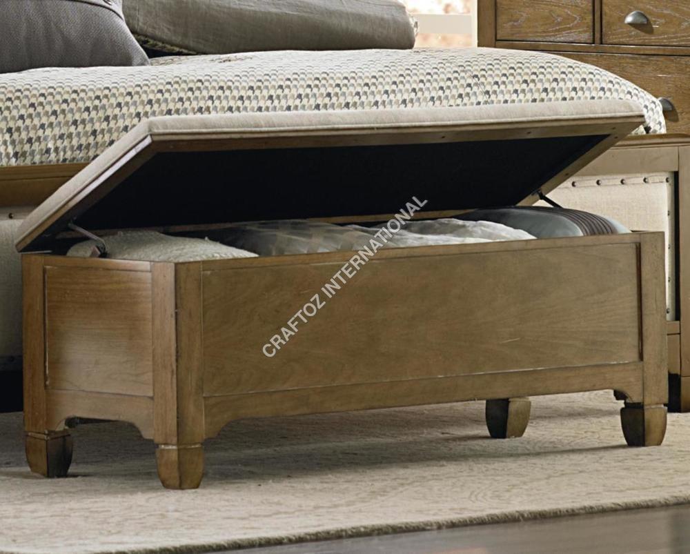 Hardwood Rustic Wooden Bedroom Bench