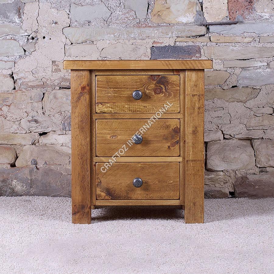 Natural Wooden Bedside Table