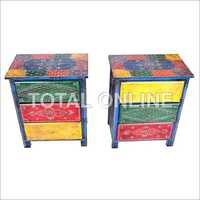 Aesthetic Wooden Drawer With Multi Color Table