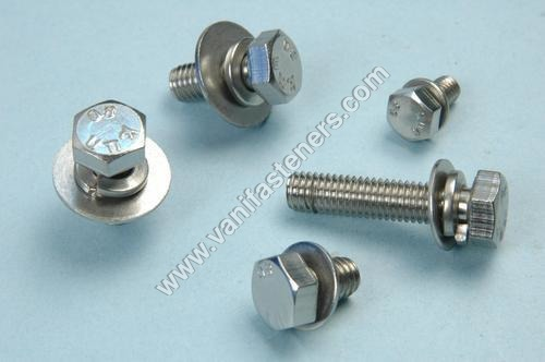 Hex Head Bolt With Plain & Spring Washer
