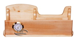 Wooden Holder With Clock