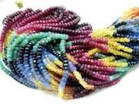 Multi Precious Ruby Emerald Sapphire Beads