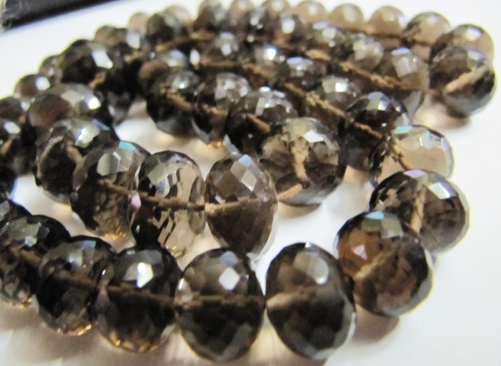 Smoky Quartz Rondelle faceted beads