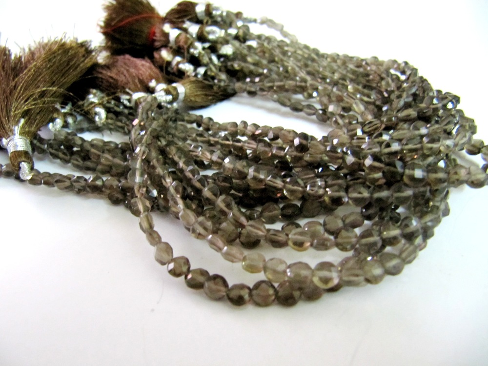 Smoky Quartz Coin Shape Beads