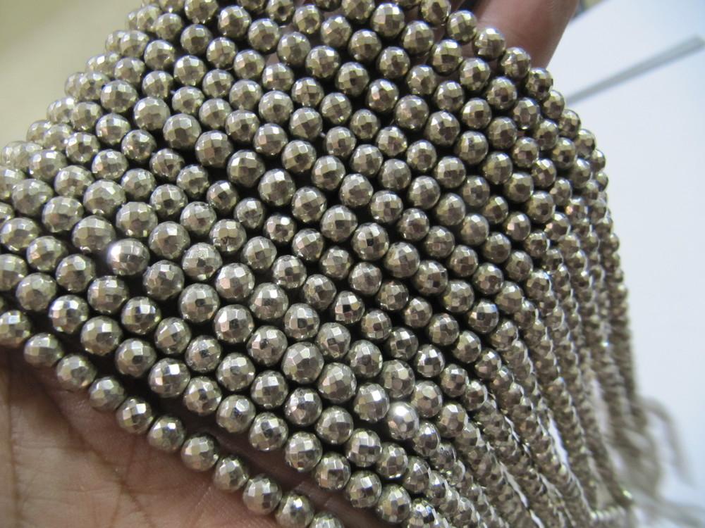 Silver Pyrite Round beads