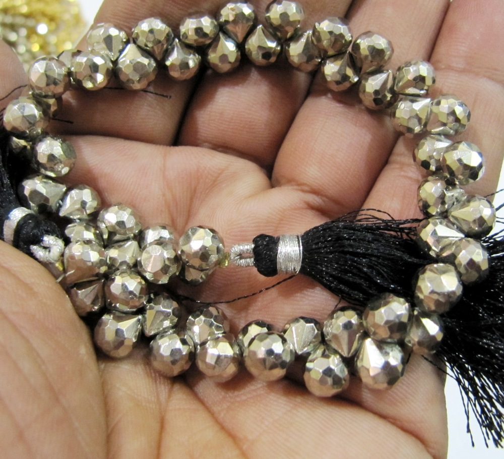 Silver Pyrite Onion Shape beads