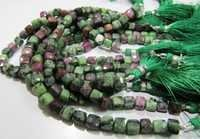 Rubyzoisite Faceted Cube Beads