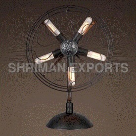 Old Fashioned Industrial Fan Table Lamp