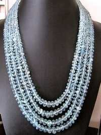 Natural Aquamaring Rondelle faceted Beads Necklace