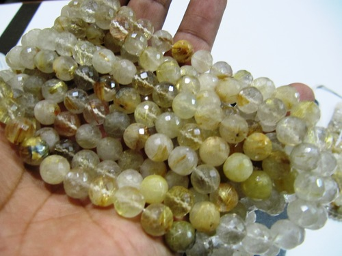 Golden Rutilated beads Round faceted