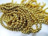 Gold Coated Pyrite Round beads