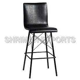 Black Leather & Iron Bar Stool