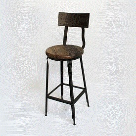 Reclaimed Wood and Iron Barstool