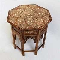 Bone Inlay Octagonal Side Table