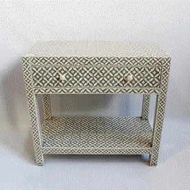 Grey Inlay Side Table