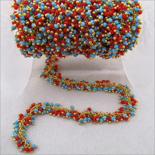 Coral And Turquoise Multi Color Dangling Chains