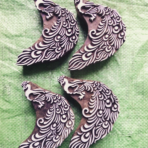 handcarved peacock wooden printing stamps for printing on fabric