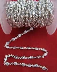 White Zircon 4mm Round Cut Connector chain
