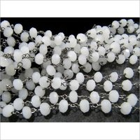 White Chalcedony 6mm Rosary Chain