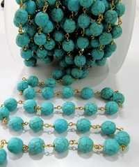 Turquoise Round beads Far Size Designing chain