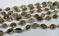 Smoky Oval Mani Shape beads Rosary Chain