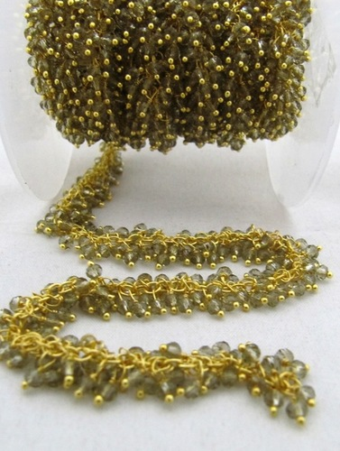 Smokey Quartz Glass beads metal chains