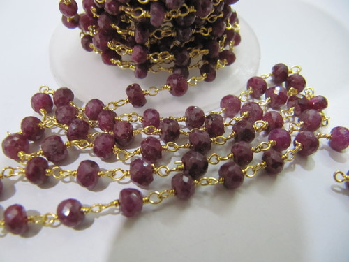 Ruby Corundum Beaded Chain